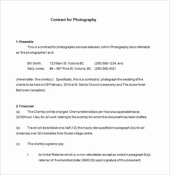 Commercial Photography Contract Template New 9 Mercial Graphy Contract Templates Free Word