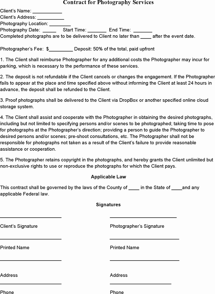 Commercial Photography Contract Template Unique event Graphy Contract Template