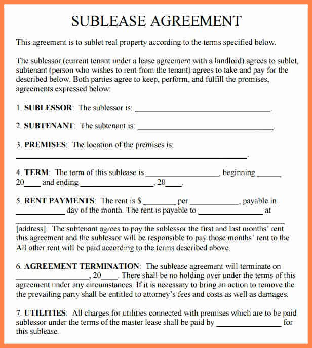 Commercial Sublease Agreement Template Awesome 9 Mercial Sublet Lease Agreement Template
