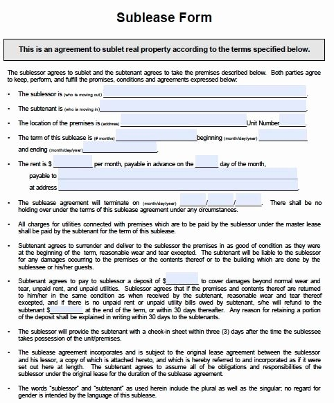 Commercial Sublease Agreement Template Awesome Printable Sample Sublease Agreement Template form