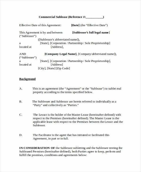 Commercial Sublease Agreement Template Elegant 13 Sublease Agreements Word Pdf Pages