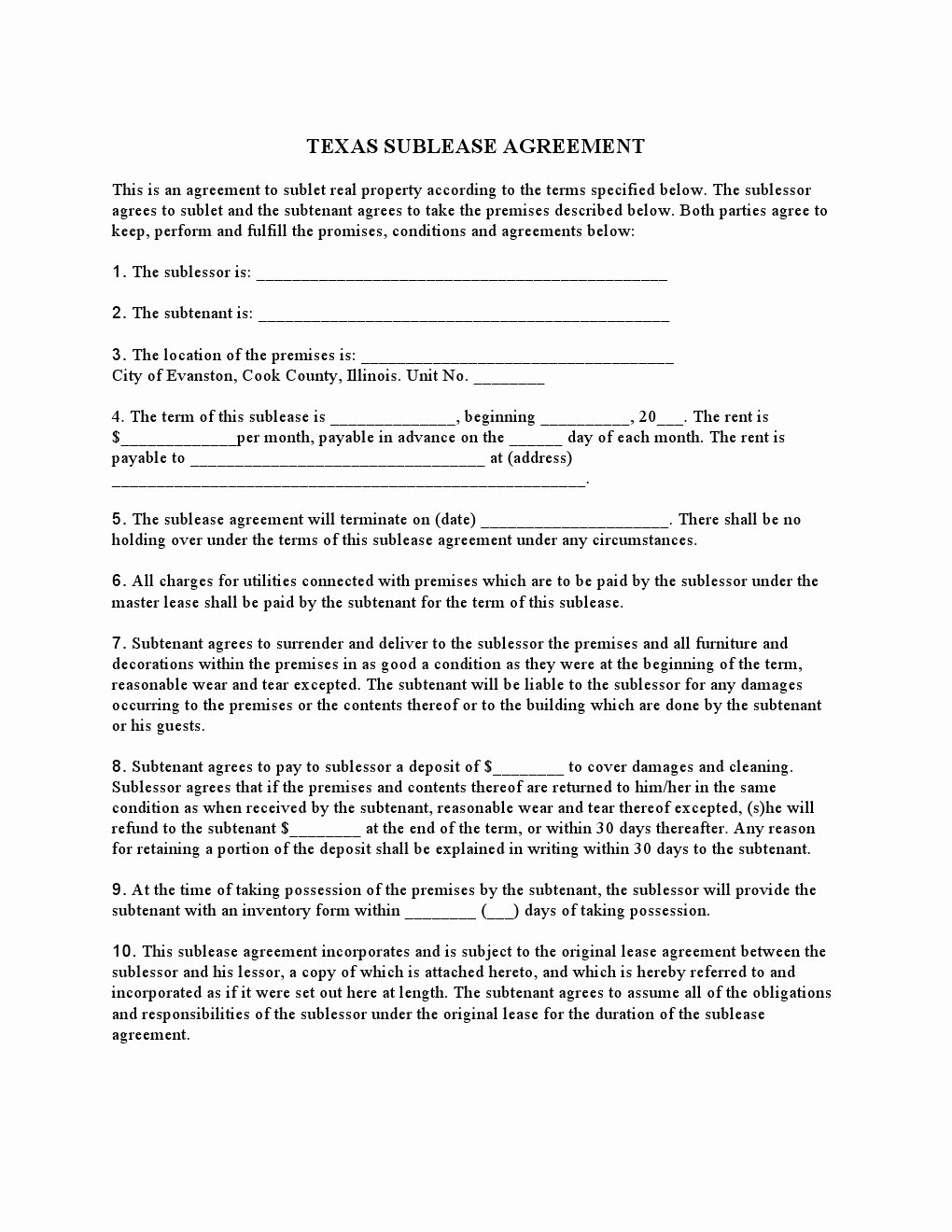 Commercial Sublease Agreement Template Elegant 30 Basic Editable Rental Agreement form Templates Thogati