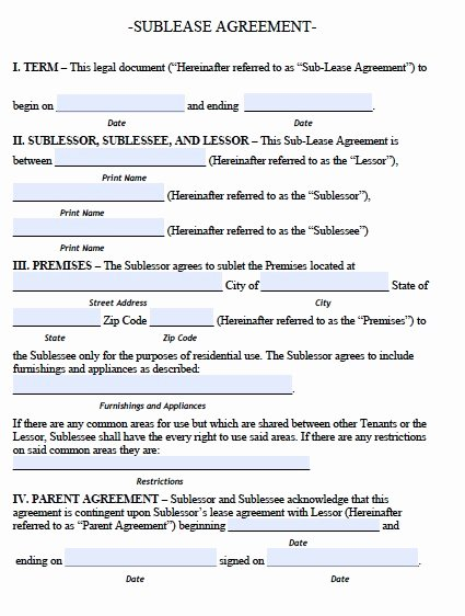 Commercial Sublease Agreement Template Elegant Sublease Agreement Template