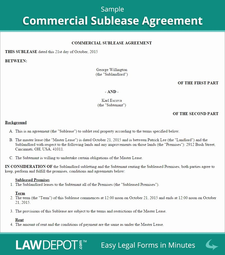 Commercial Sublease Agreement Template Inspirational 6 Elegant Mercial Sublease Agreement Template Si