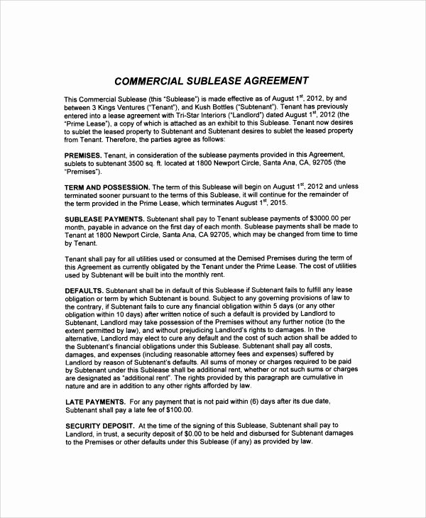 mercial sublease agreement