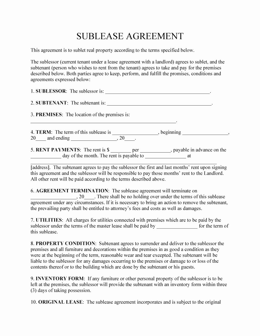 Commercial Sublease Agreement Template Lovely 40 Professional Sublease Agreement Templates & forms