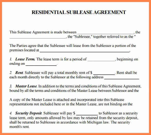 Commercial Sublease Agreement Template Luxury 9 Mercial Sublet Lease Agreement Template