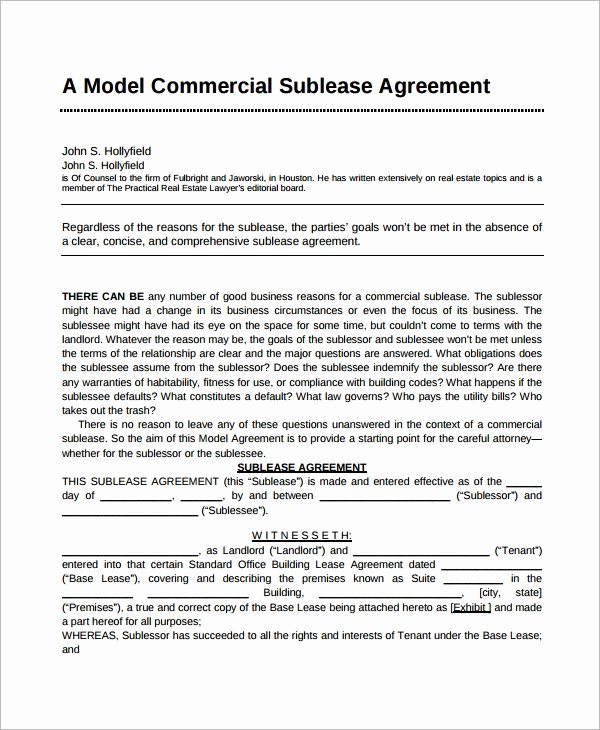 Commercial Sublease Agreement Template Unique Sublease Agreement 10 Example format
