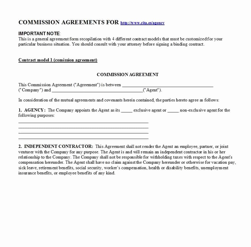 Commission Sales Agreement Template Beautiful 36 Free Mission Agreements Sales Real Estate Contractor