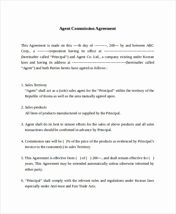 Commission Sales Agreement Template Inspirational Sales Mission Agreement Pdf