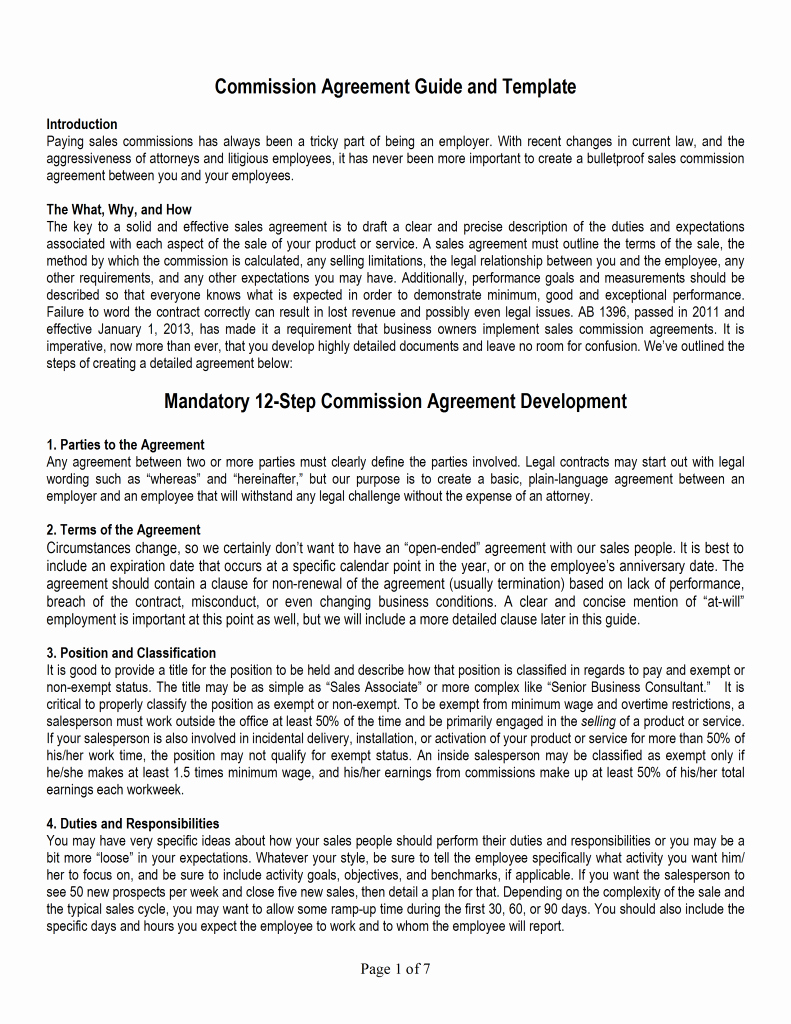 Commission Sales Agreement Template Lovely Sales Mission Agreement Template