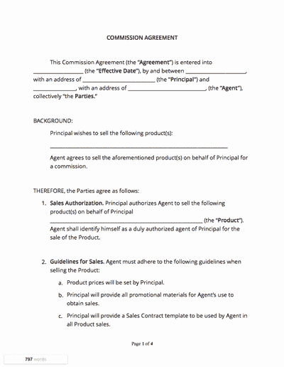 Commission Sales Agreement Template Luxury Mission Agreement Docsketch
