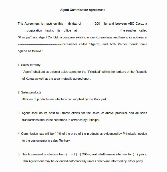 Commission Sales Agreement Template New 22 Mission Agreement Templates Word Pdf Pages