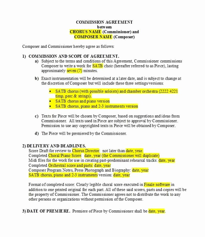 Commission Sales Agreement Template Unique 36 Free Mission Agreements Sales Real Estate Contractor