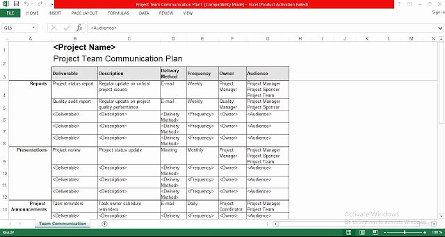 Communication Plan Template Free Awesome Project Team Munication Plan Excel Template Free