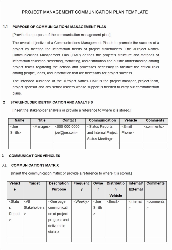 Communication Plan Template Free Beautiful 9 Project Management Munication Plan Templates