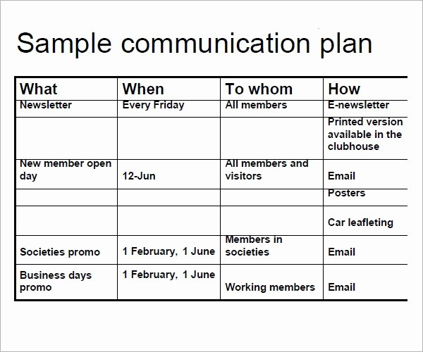Communication Plan Template Free Inspirational Free 17 Samples Of Munication Plan Templates In Pdf
