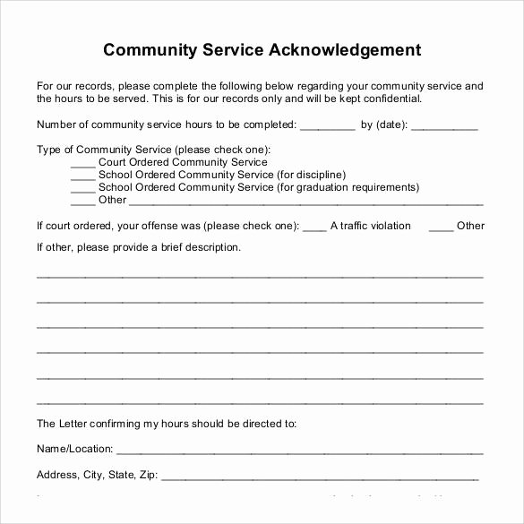 Community Service Hours form Template Beautiful Sample Munity Service Letter 25 Download Free