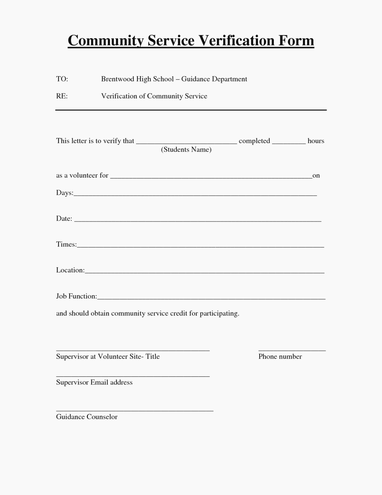 Community Service Hours form Template Best Of Munity Service