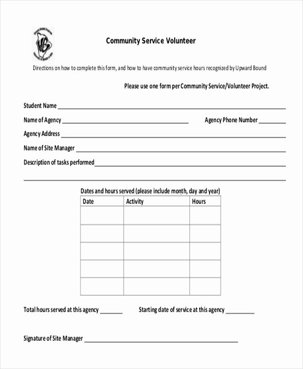 Community Service Hours form Template Elegant Free 10 Sample Munity Service forms