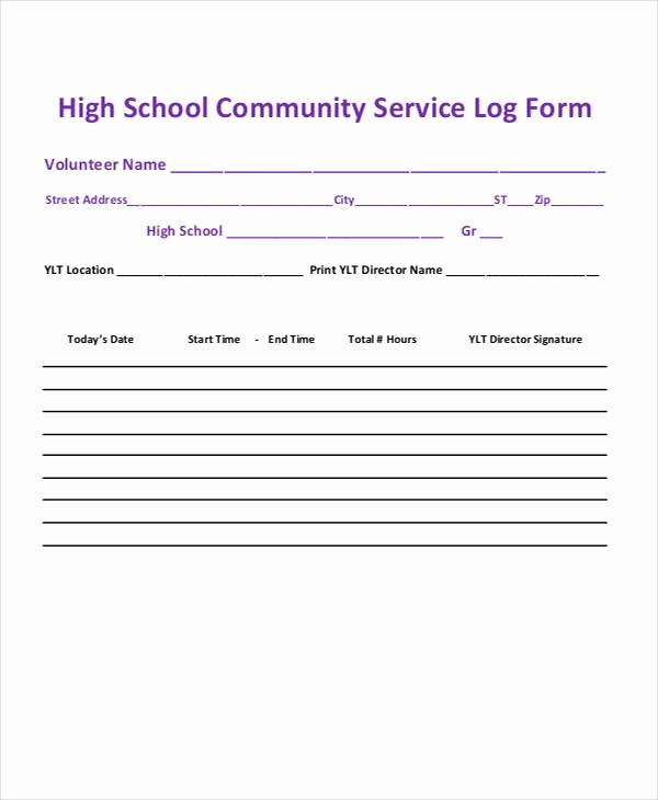 Community Service Hours form Template Fresh 39 Free Log Templates