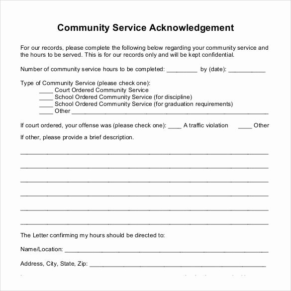 Community Service Hours form Template Fresh Munity Service Letter for Court 2018