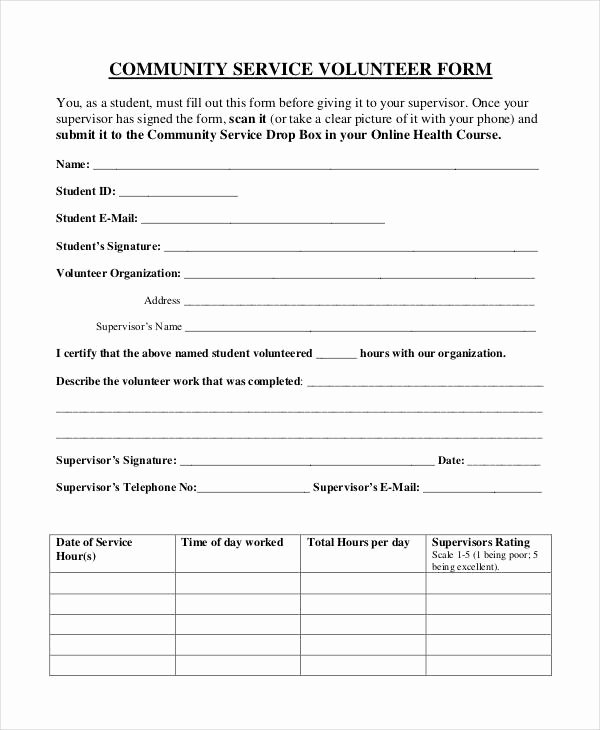 Community Service Hours form Template Lovely Free 35 Service form In Templates