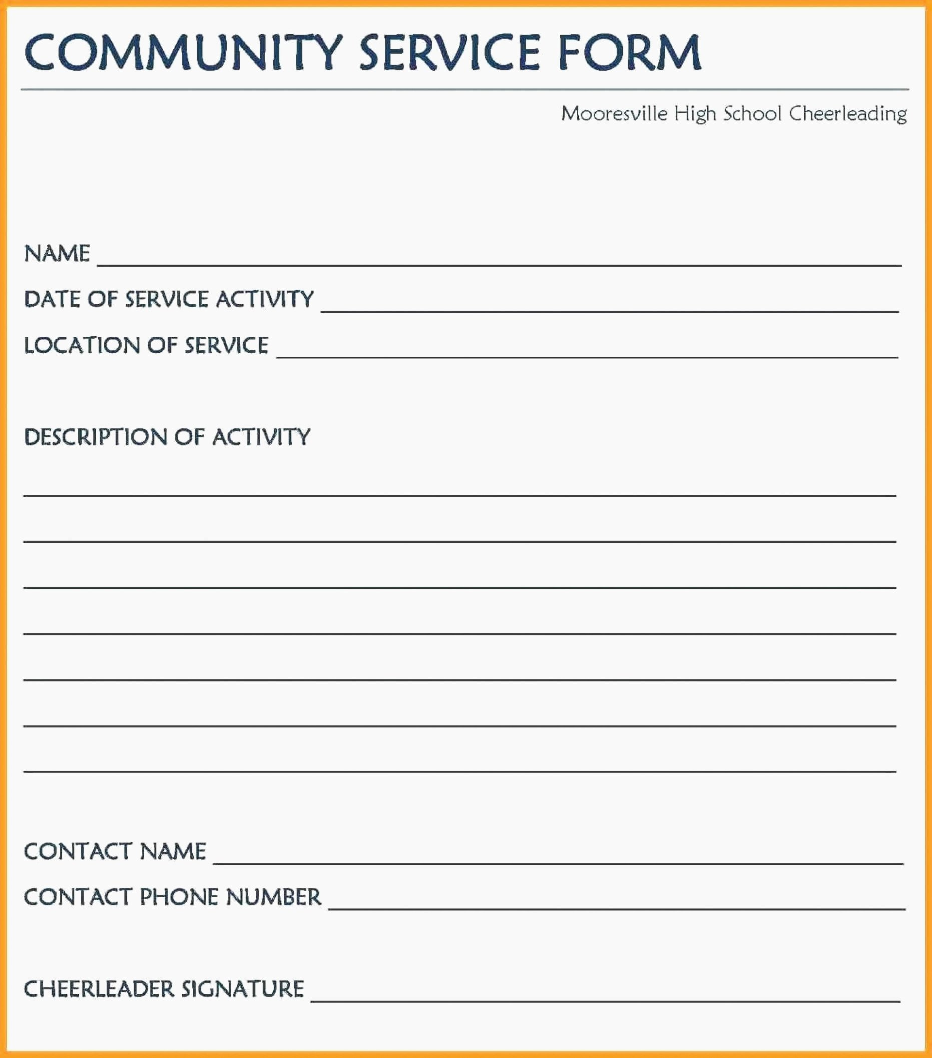 Community Service Hours form Template Lovely Ten Easy Ways to