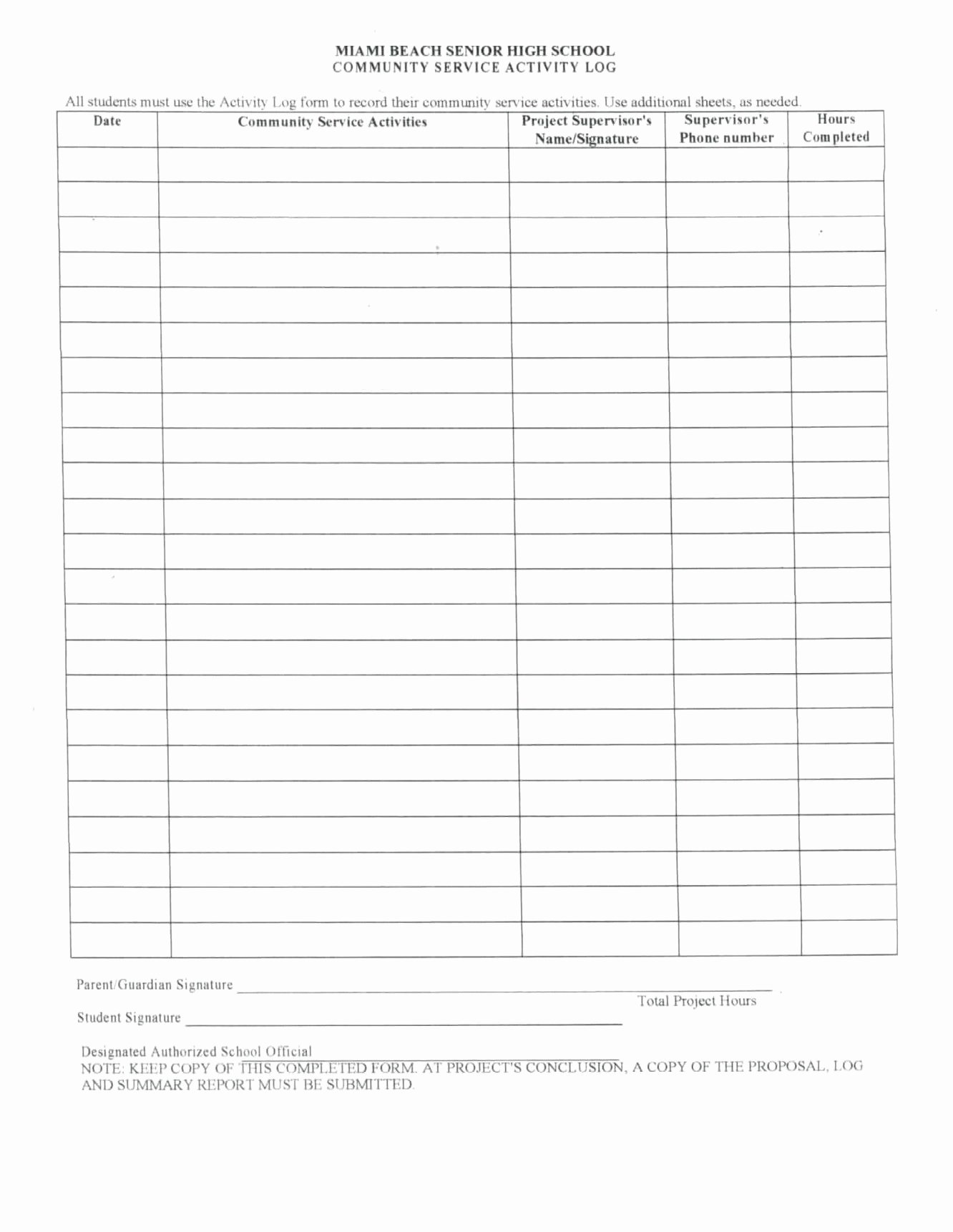 Community Service Hours form Template New Njhs Volunteer form