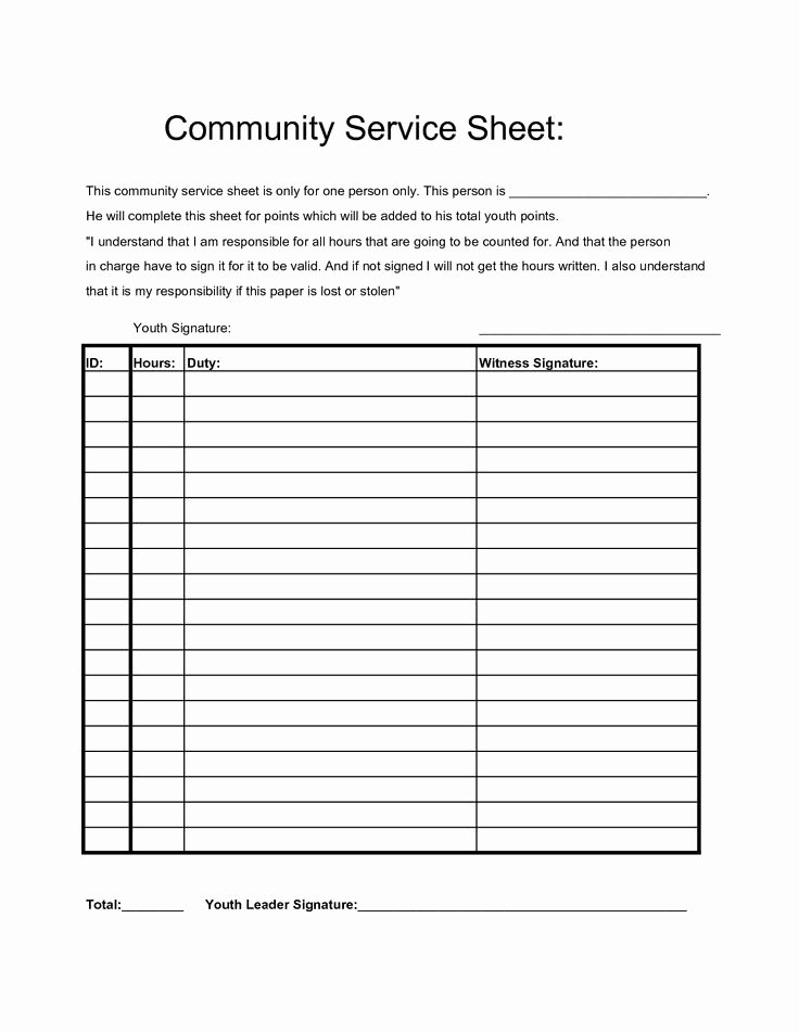 Community Service Hours form Template Unique Munity Service Hours Sheet