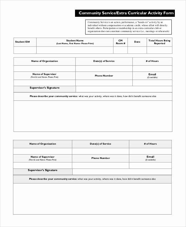 Community Service Hours form Template Unique Sample Munity Service form 10 Examples In Pdf Word