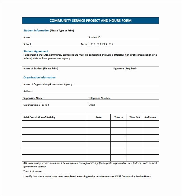 Community Service Hours form Template Unique Sample Service Hour form 13 Download Free Documents In