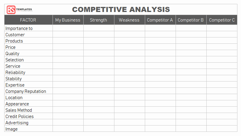 Competitive Analysis Template Excel Awesome Petitive Analysis Template for Excel – formats