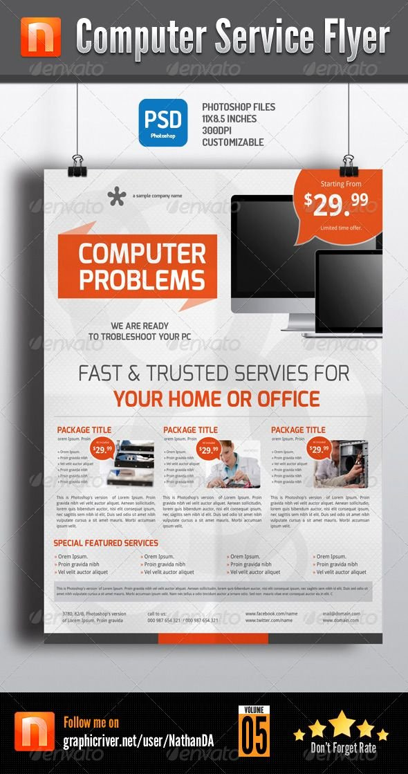 Computer Repair Flyer Templates Beautiful Puter Service Flyer V5