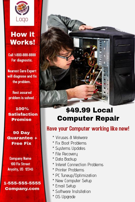 Computer Repair Flyer Templates Fresh Puter Repair Template