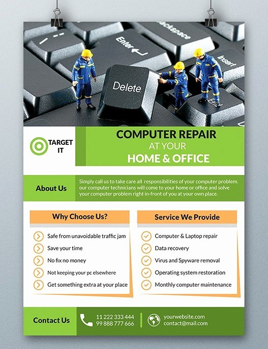 Computer Repair Flyer Templates Unique Free Puter Repair Flyer Template Psd Titanui
