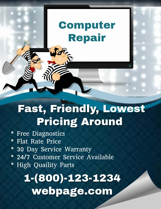 Computer Repair Flyers Templates Awesome Puter Repair Template