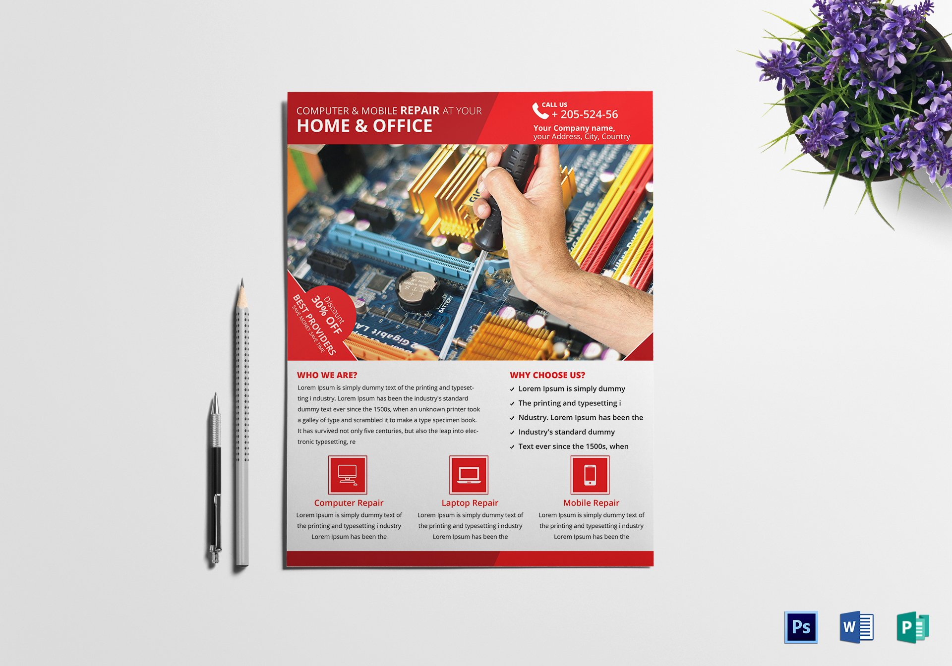 Computer Repair Flyers Templates Elegant Puter Mobile Repair Flyer Design Template In Psd Word