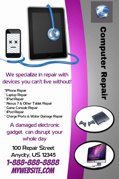Computer Repair Flyers Templates Lovely Puter Repair Flyer Template
