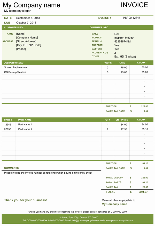Computer Repair forms Templates Awesome Puter Repair Invoice