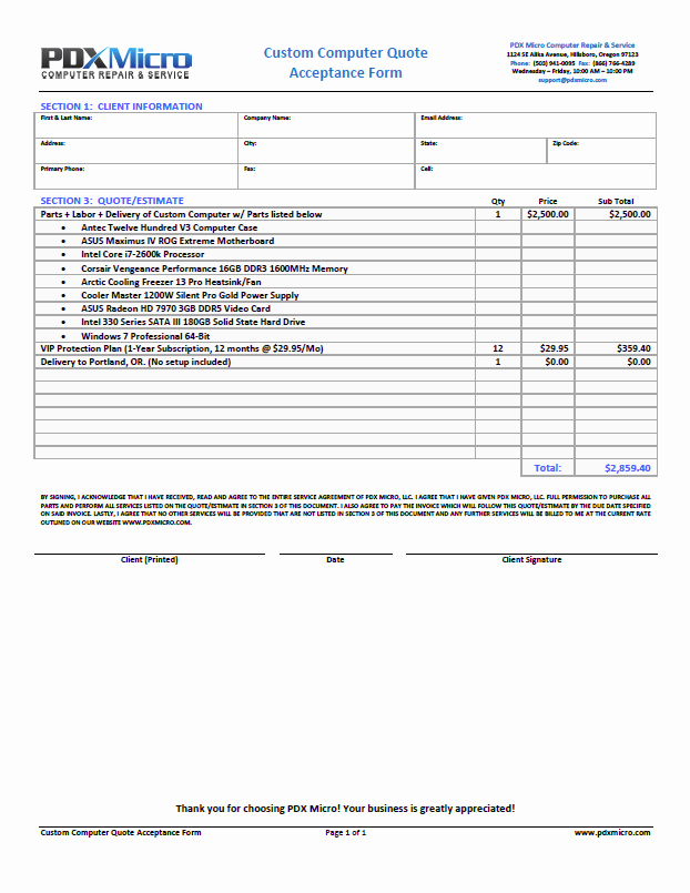 Computer Repair forms Templates Fresh Puter Repair forms Free Printable Documents
