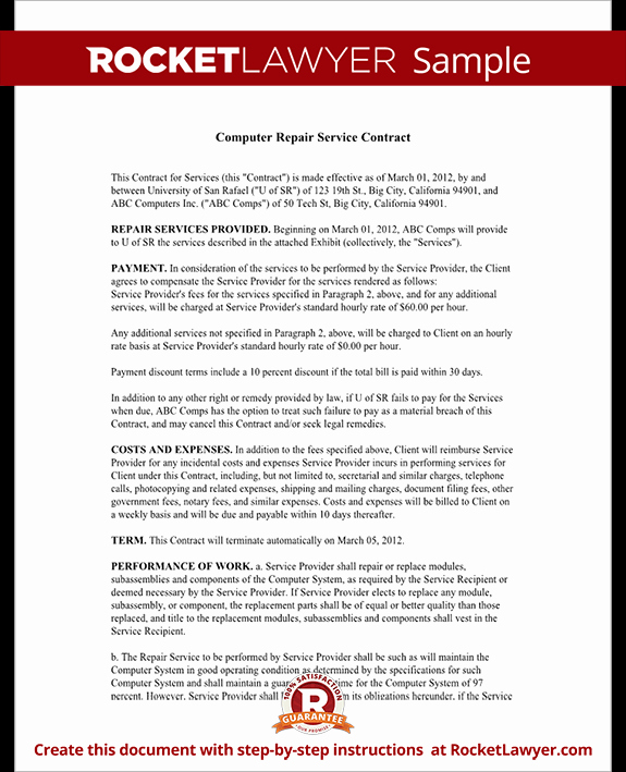 Computer Repair forms Templates Fresh Puter Service Contract Repair Puter Template