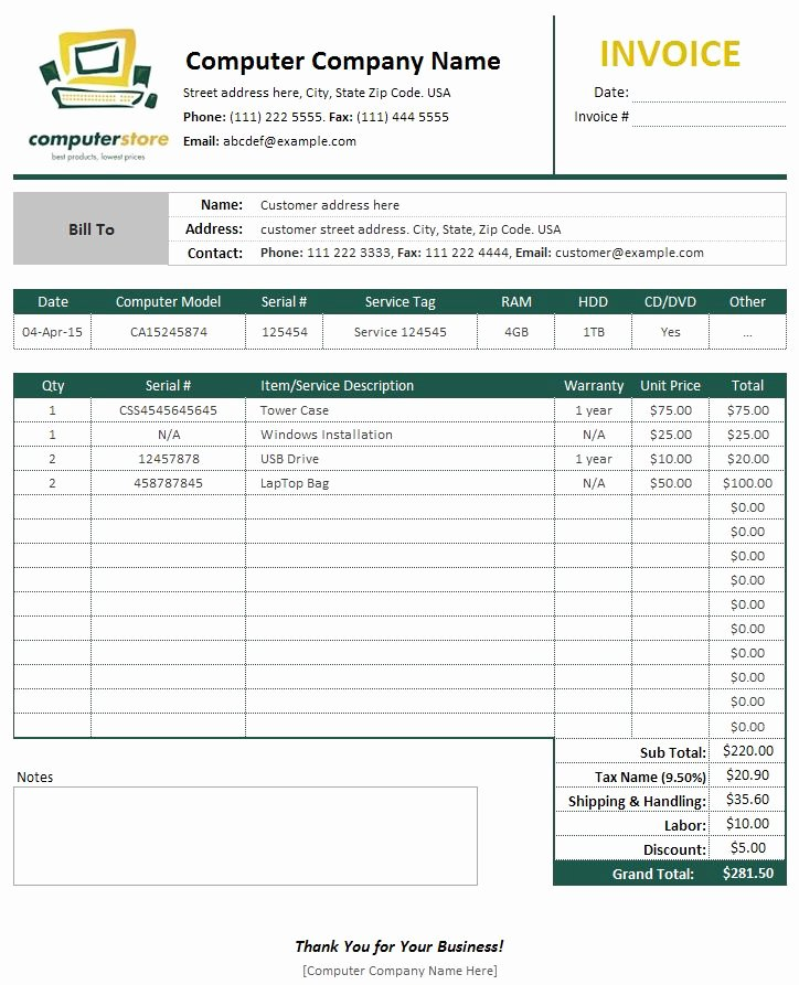 Computer Repair forms Templates Inspirational Puter Sales & Service Invoice Template