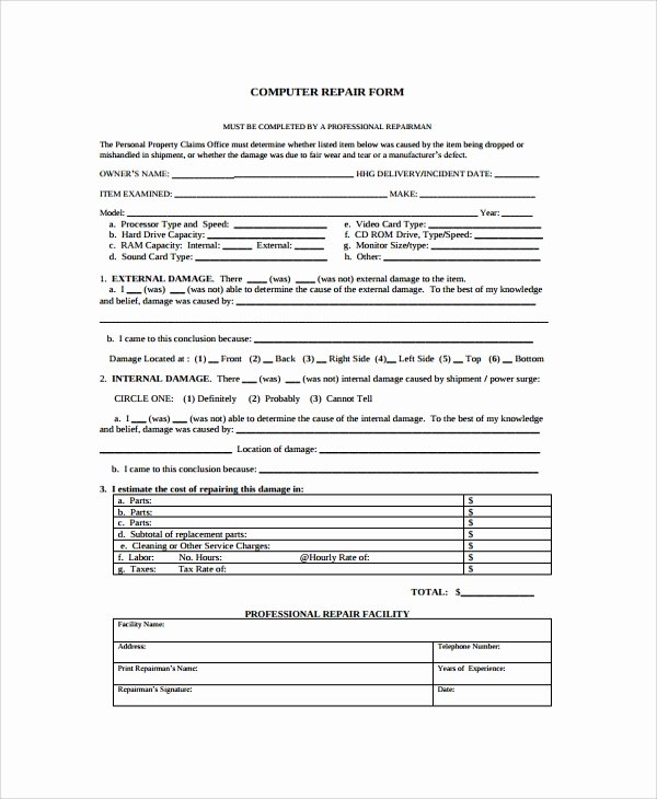 Computer Repair forms Templates Inspirational Sample Repair form 8 Documents In Pdf Word