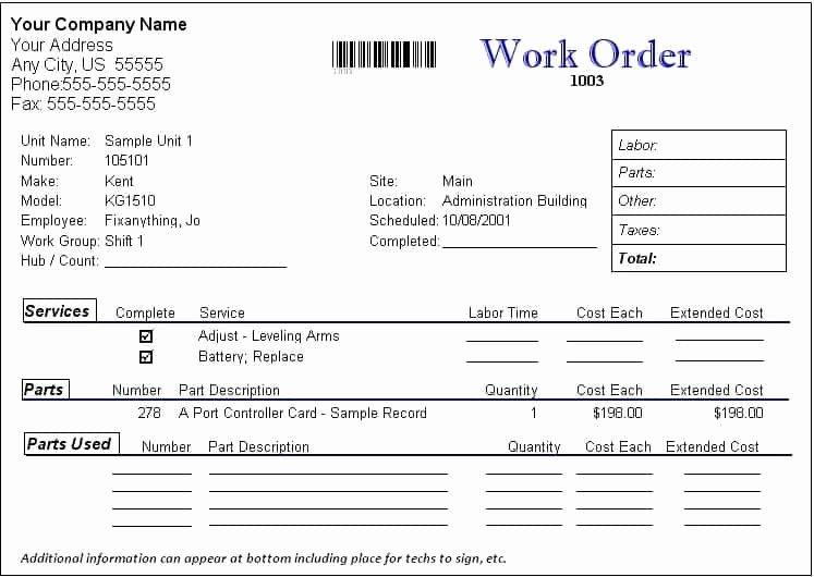 Computer Repair Work order Template Beautiful Work order formats