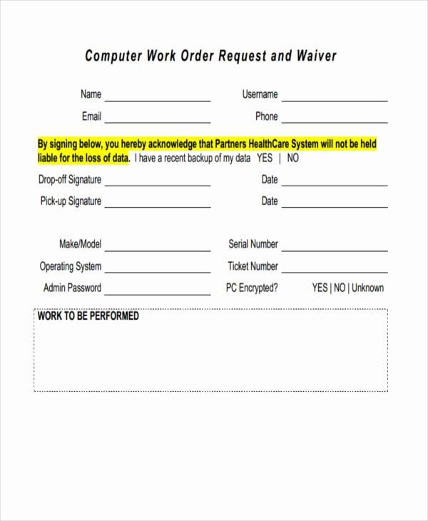 Computer Repair Work order Template Best Of 20 Sample Work order forms