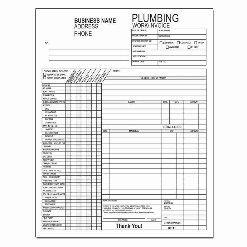 Computer Repair Work order Template Fresh Plumbing Work order Invoice