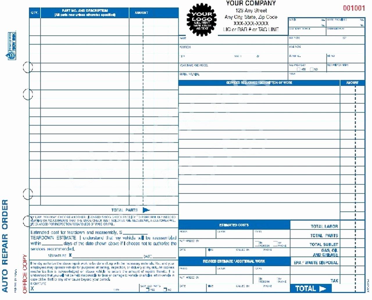 Computer Repair Work order Template Unique Aro 373 4 Auto Repair Work order Invoice 4 Part Carbon Copy