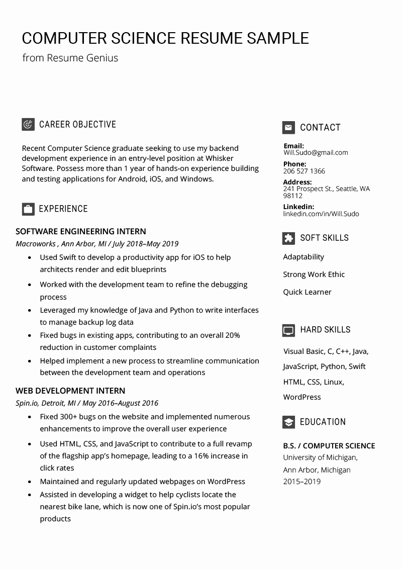 Computer Science Resume Template Awesome Puter Science Resume Sample & Writing Tips