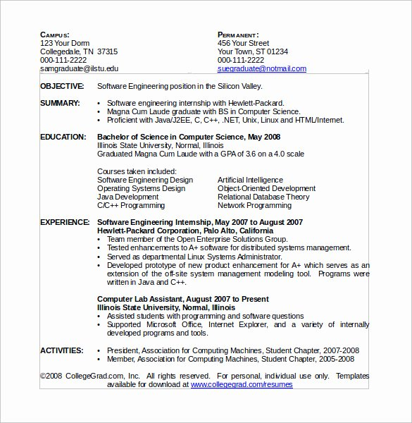 Computer Science Resume Template Awesome Sample Puter Science Resume 11 Download Free